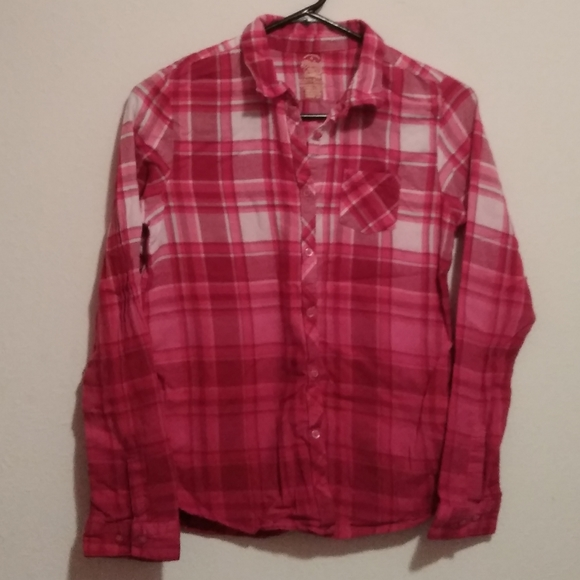 Faded Glory Other - 🌺Girls🌺 Ombre Dip Dye Flannel Button Down Shirt